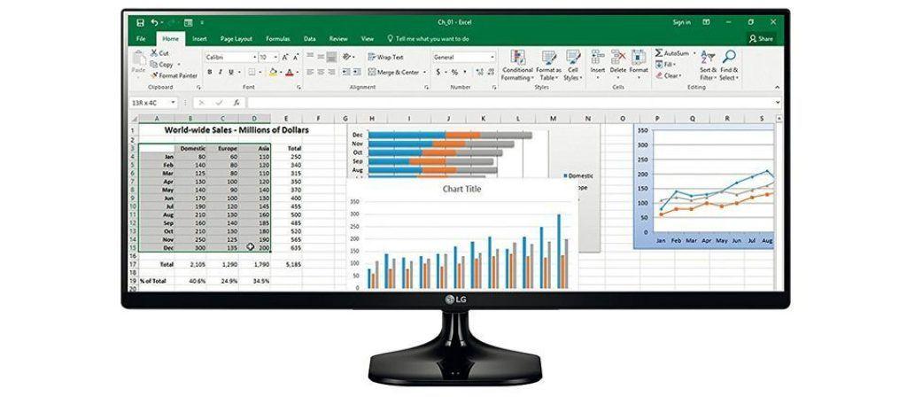 LG 29um58-P monitor varias aplicaciones en pantalla
